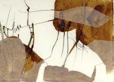 Insect-esque collage by Masha Ryskin using coffee, paper, intaglio.
