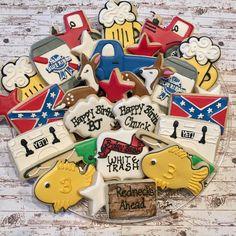 #dpsweets #dpsweetsfacebook #decoratedcookies #redneck#birthdayparty#favors #hunting#fishing#beer Birthday Bash, Birthday Parties, Redneck Christmas, White Trash Party, Redneck Party, Paint Cookies, Cookie Designs, Southern Belle, Cookie Decorating