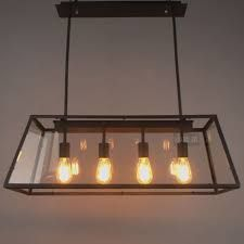 Loft Pendant Lamp Retro American Industrial Black Iron Rectangular Chandelier Living Room Dining Office Light Fixture Wholesale Single Lights