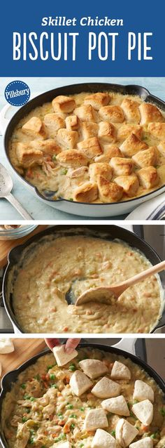 The key to this easy, yummy homemade chicken pot pie is the scratch filling that's packed with veggies (hello: onions, carrots, celery and peas!) with Pillsbury™ Grands!™ biscuits on top! Thanksgiving turkey leftovers? Use it in place of the chicken in this recipe!