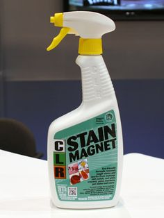 """If you're looking for an all-purpose stain remover that promises to be kinder to the environment, CLR's Stain Magnet ($4.99 for 26 fl. oz.) received the DFE designation (""""Design for the Environment"""") by the U.S. Environmental Protection Agency, meaning it boasts """"safer,"""" environmentally friendly chemistry. #jelmar #ihhs13 #allpurposecleaner"""