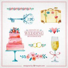 Watercolor cute wedding elements Free Vector