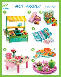 Djeco Role Play Toys.  1: DJ6623 Leo's Shopkeeper Market Set  2: DJ6509 Assorted Colourful Macaroons Role Play Set  3: DJ6621 12pc Fruits & Vegetables Set  4: DJ6625 Role Play Wallet Set  5: DJ6621 Lili Rose's Lunch Set  6: DJ6628 Teddy's Party Tea Party Set  7: DJ6511 Birthday Party Teatime Role Play Set