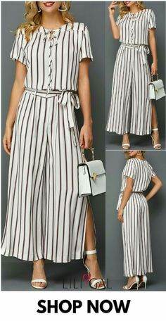 Make a fashion statement in this jumpsuit! It features Side Slit, Short Sleeve ,Stripe Print, Belted and wide leg design. Pair this jumpsuit with platform heels for the ultimate look. Stylish Dresses, Women's Fashion Dresses, Casual Dresses, Jumpsuit Dressy, Jumpsuit Outfit, Pantalon Large, Dress Indian Style, Pants For Women, Clothes For Women