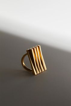 Unfold Ring :: Playful ring with jointed components, Gold-plated brass  NIV series | uncommon matters