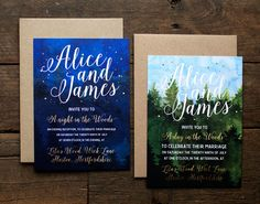 $36  Down in the Woods is a rustic, watercolour woodland wedding inspired suite with day and night themes, sprinkled with gold print. Totally perfect for any magical day or night in the woods!  Paper & Print Info: Down in the Woods is printed digitally using industry leading HP Indigo printers, on to our paper of choice; 300gsm hammered stock, perfect for watercolour designs. This invitation is single sided and A6 (105mm x 148mm) as standard, bu...