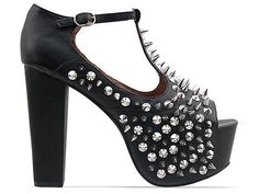 Amazon.com: Jeffrey Campbell Foxy Front Spike Black Silver: Shoes
