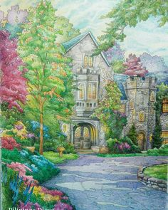 Image from Posh Coloring Book By Thomas Kinkade Medium used: colored pencils #coloringbookph #coloring_masterpieces  #coloringbook  #desenhoscolorir  #coloringbooksforgrownups  #coloring_secrets #thomaskinkade #desenhoscolorir