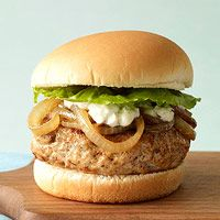 Ultimate Turkey Burger with Caramelized Onions and Blue Cheese Recipe