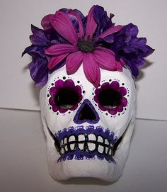 Violeta Papier Mache Sugar Skull - Artwork by Kimberly Palencia    Papier Mache Sugar Skull was handpainted by Connecticut Artist Kimberly Palencia.    For more information visit : www.mydayofthedead.com    Blog: www.allsoulday.com