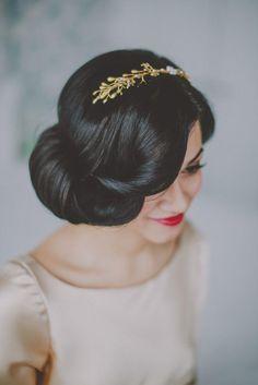 Berta Bridal Wedding Dress Meets Classic Aqua and Gold - wedding hairstyle