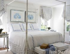 Curtains for blue and white room blue and white master bedroom blue and white bedroom decor . House Of Turquoise, Beach Cottage Style, Beach House Decor, Home Decor, Seaside Style, Beautiful Bedrooms, Beautiful Homes, House Beautiful, Girls Room Design