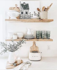 open shelf in the kitchen floating shelves in the kitchen neutral kitchen equipment inspiration Decor, Home Decor Kitchen, Home Decor Inspiration, Interior, Floating Shelves Kitchen, Neutral Kitchens Decor, Sweet Home, Neutral Kitchen, Kitchen Shelves Styling