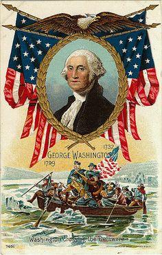 Washington Birthday Postcard ...George Washington crossing the Delaware.