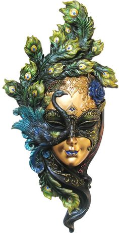 Carnival masks have a long history of being wild and eccentric, yet their eccentricities often show great beauty and artistry, too. Such is the case with this Green Peacock Mask Wall Plaque, which recreates an old carnival mask. Peacock Mask, Peacock Feathers, Peacock Costume, Makeup At Home, Venice Mask, Venetian Carnival Masks, Beautiful Mask, Masks Art, Green And Purple