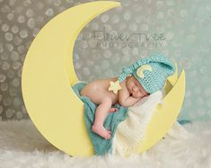 Baby Moon Hat Newborn Photo Prop Sleepy Time by VioletsPlayground