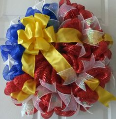 Memorial Day Deco Mesh Wreath Fourth of July by PJCreativeWreaths, $68.00