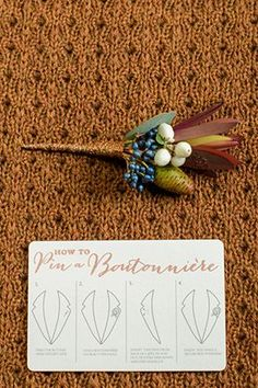 This coppery fall boutonniere came with pinning instructions! | Photo by Rachel Peters