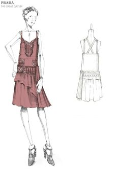Prada Great Gatsby Sketch I like the sketch quality of the garment on a mannequin
