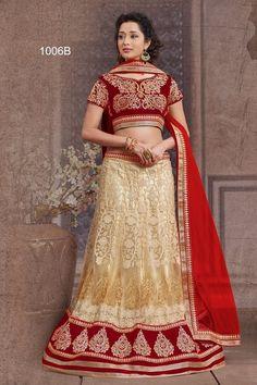 Cream & Red Color Net with work Lehenga Choli
