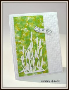 thank you card.... green and yellow paper made with alcohol inks