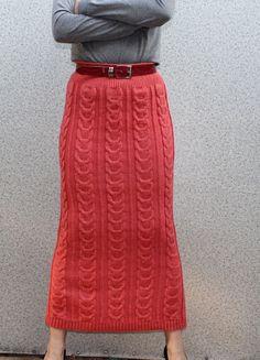 Women's hand knitted skirt maxi dress sweater by BANDofTAILORS