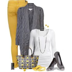 DL Trend Note: Yellow, grey and white - a fresh take on Fall/Winter - and brighten up those cloudy days! LOLO Moda: Gorgeous Women Fashion 2013