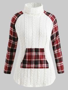 b1677dd3a4737 Plus Size Plaid Panel Cable Knit Sweater Plus Size Sweaters, Cheap  Sweaters, Plaid Fashion