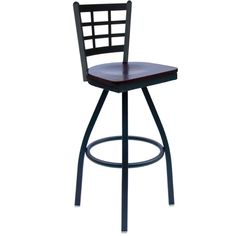 Marietta Metal Window Pane Back Restaurant Swivel Bar Stools with Wood Seat - These attractive BFM Seating commercial swivel bar stools feature a sturdy metal frame and a sophisticated solid wood swivel seat. Each window pane back bar stool is available with a sand black frame finish and black, cherry, mahogany, natural and walnut wood seat finish options to easily accommodate your restaurant decor.  [2163S-SBW]