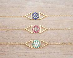 Bracelet Double Triangle Tissage de Perle Doré à l'Or Fin