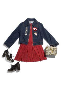 Dress, pacsun.com; Denim jacket, asos.com; Bag, asos.com; Pins, istillloveyounyc.com; Shoes, drmartens.com