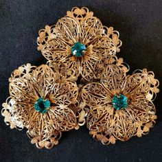 Vintage Gold Tone Filigree Floral Pieces with Green Stone