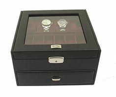 Estuche Relojero para 12 Relojes con Vitrina de Cristal - Calidad Premium - Joyero Relojero Hombre -Hecho a Mano en Piel- en Color Negro CDM-00023: Amazon.es: Relojes