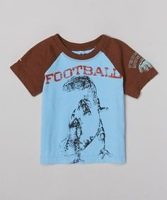 Loving this Blue & Brown 'Football' Dinosaur Tee - Infant & Toddler on #zulily! #zulilyfinds
