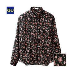(GU)シースルーブラウス(フラワー・長袖) - GU ジーユー