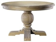 KT - how about a worn, circular table in your breakfast room?  Kingdom Oak Round Dining Table farmhouse dining tables