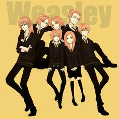 the weasleys :) Bill Weasley Character Charlie Weasley Character Fred Weasley Character George Weasley Character Ginny Weasley Character Percy Weasley Character Ron Weasley Character Ginny Weasley, Weasley Twins, Harry Potter Images, Harry Potter Anime, Harry Potter Fan Art, Familia Weasley, Hogwarts, Must Be A Weasley, Anime Version