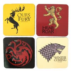 Buy Game of Thrones House Sigil Coaster Set at Wish - Shopping Made Fun Game Of Thrones Gifts, Game Of Thrones Houses, Game Of Thrones Fans, Dorm Gifts, 31 Gifts, House Sigil, Curb Your Enthusiasm, Got Party, Games To Buy