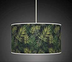 "ARK HOUSE 25cm (10"") Tropical Palm Leaves Green HANDMADE LAMPSHADE GICLEE PRINTED FABRIC PENDANT CEILING LIGHT SHADE 922 (For table or floor lamp): Amazon.co.uk: Kitchen & Home"