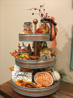 Ways To Decorate Your Tiered Tray For Halloween These trendy DIY and Craft ideas would gain you amazing compliments. Check out our gallery for more ideas these are trendy this year. Galvanized Tiered Tray, Galvanized Decor, Galvanized Tray Centerpieces, Galvanized Buckets, 3 Tier Stand, Tiered Stand, Autumn Decorating, Porch Decorating, Interior Decorating