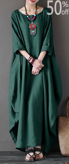 Vintage Women Solid Sleeve Loose Robe Dress For Women – Linen Dresses For Women Trendy Dresses, Women's Fashion Dresses, Boho Fashion, Casual Dresses, Vintage Fashion, Womens Fashion, Fashion Fall, Fashion Clothes, Maxi Dress With Sleeves