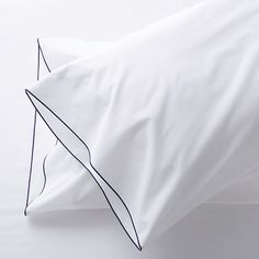 Set of 2 Belo Blue Standard Pillow Cases | Crate and Barrel
