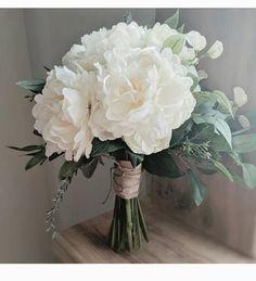 Items similar to wedding flowers wedding bouquet eucalyptus bouquet silk bouquet bridal bouquet rustic bouquet boho bouquet ivory white green on Etsy Ranunculus Wedding Bouquet, White Peonies Bouquet, Peonies And Hydrangeas, Silk Bridal Bouquet, Silk Wedding Bouquets, Bridal Flowers, Ranunculus Boutonniere, Purple Bouquets, Flower Bouquets