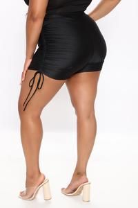 Not So Basic Ruched Shorts - Black – Fashion Nova Swim Shorts Women, Fashion Nova Models, Nova Jeans, Jeans Dress, Cut And Style, Get The Look, Fashion Bags, Spandex, Swimwear