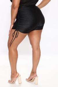 Not So Basic Ruched Shorts - Black – Fashion Nova Swim Shorts Women, Fashion Nova Models, Nova Jeans, Jeans Dress, Cut And Style, Get The Look, Fashion Bags, Swimwear, Black