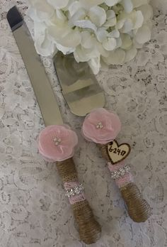 Wedding cake knife set Rustic cake knife set Burlap cake