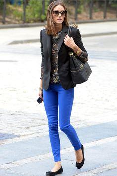 Closet Inspiration: Black and gold shirt + black blazer + cobalt skinny jeans + black flats