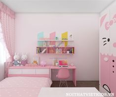 Mẫu phòng ngủ Hello Kitty - phòng ngủ đẹp cho bé gái
