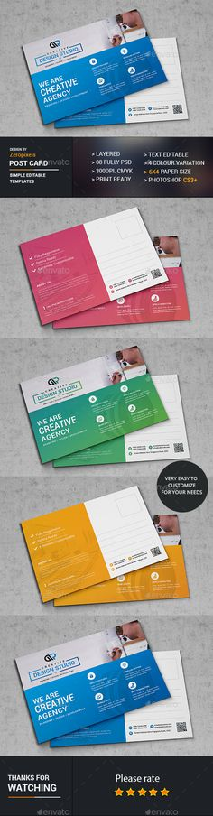 Buy Web Post Card by zeropixels on GraphicRiver. Features: Easy Customizable and Editable Post Card in with bleed CMYK Color Design in 300 DPI Resolution Print Re. Postcard Template, Postcard Printing, Postcard Design, Examples Of Business Cards, Unique Business Cards, Business Card Design, Direct Mail Design, Marketing Ideas, Marketing Products