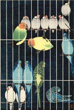 "By Shiro Kasamatsu (1898-1991), 1957, ""Bird Cage""."